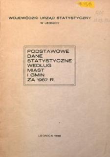 Podstawowe dane statystyczne według miast i gmin za 1987 r.