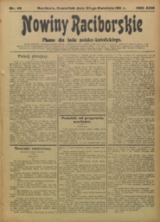 Nowiny Raciborskie, 1911, R. 23, nr 49