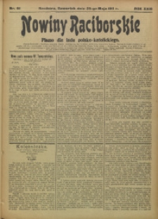 Nowiny Raciborskie, 1911, R. 23, nr 61