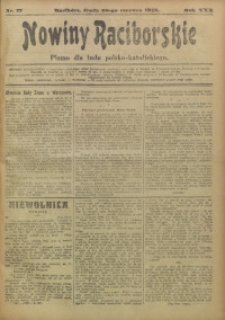 Nowiny Raciborskie, 1918, R. 30, nr 77
