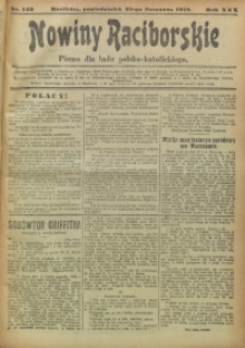 Nowiny Raciborskie, 1918, R. 30, nr 142