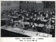 Kietrz. Szkoła Podstawowa nr 1 im. Tadeusza Kościuszki. Klasa VI, rok szk. 1982-1983.