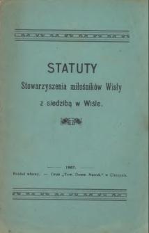 Statuty Stowarzyszenia Miłośników Wisły z siedzibą w Wiśle, 1907