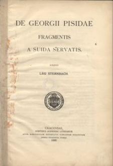 De Georgii Pisidae fragmentis a Suida servatis