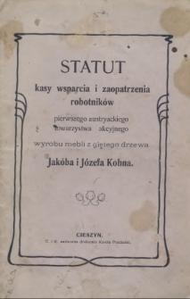 Statut Kasy Wsparcia i Zaopatrzenia Robotników Pierwszego Austryackiego Towarzystwa Akcyjnego wyrobu mebli z giętego drzewa Jakóba i Józefa Kohna