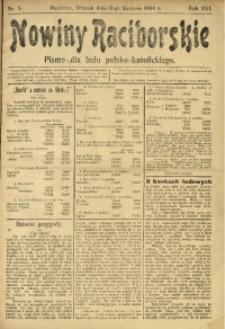 Nowiny Raciborskie, 1904, R. 16, nr 5