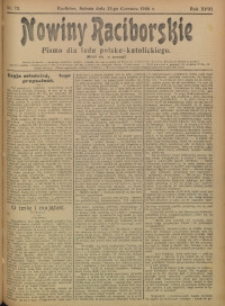 Nowiny Raciborskie, 1906, R. 18, nr 72