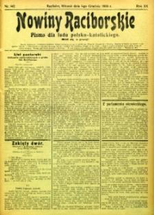 Nowiny Raciborskie, 1908, R. 20, nr 142