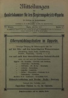 Mitteilungen der Handelskammer für den Regierungsbezirk Oppeln, 1914, Jg. 20, Nr. 6/7