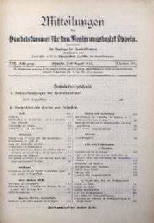 Mitteilungen der Handelskammer für den Regierungsbezirk Oppeln, 1916, Jg. 22, Nr. 7/8
