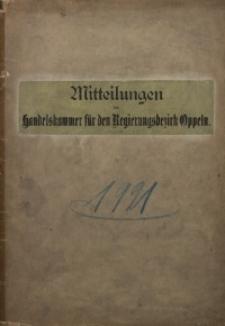 Mitteilungen der Handelskammer für den Regierungsbezirk Oppeln, 1921, Jg. 27, Inhaltsverzeichnis