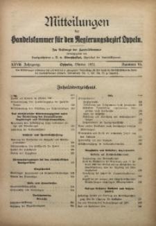 Mitteilungen der Handelskammer für den Regierungsbezirk Oppeln, 1921, Jg. 27, Nr. 10