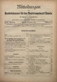 Mitteilungen der Handelskammer für den Regierungsbezirk Oppeln, 1921, Jg. 27, Nr. 11