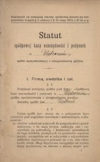 Statut Spółkowej Kasy Oszczędności i Pożyczek w Ustroniu, [1907?]