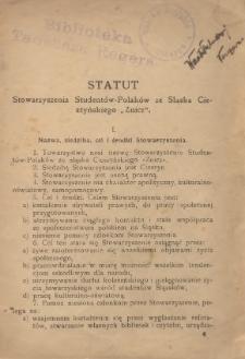 """Statut Stowarzyszenia Studentów-Polaków ze Śląska Cieszyńskiego """"Znicz"""", [1925]"""