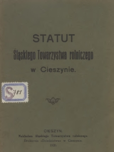 Statut Śląskiego Towarzystwa Rolniczego w Cieszynie, 1920