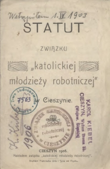 """Statut Związku """"Katolickiej Młodzieży Robotniczej"""" w Cieszynie, 1906"""