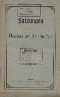 Satzungen des Vereines der Hausbesitzer in Teschen, [1901]