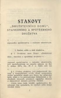 """Stanovy """"Družstevního domu"""", stavebního a spotřebního družstva v ... zapsaného společenstva s ručením obmezeným, [1930]"""