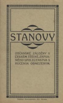 Stanovy Občanské záložny v Českém Těšíně, zapsaného společenstva s ručením obmezeným, [1923]