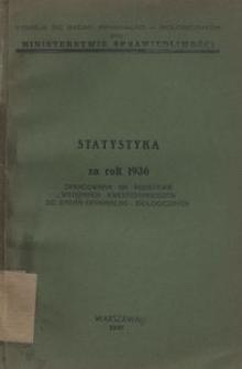 Statystyka za rok 1936 opracowana za podstawie wstępnych kwestjonariuszów do badań kryminalno-biologicznych