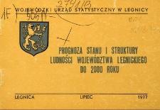 Prognoza stanu i struktury ludności województwa legnickiego do 2000 roku