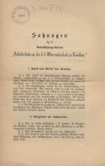 """Satzungen für den Unterstützungs-Verein """"Schülerlade an der k. k. Oberrealschule zu Teschen"""""""