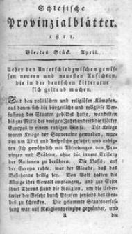 Schlesische Provinzialblätter, 1811, 53. Bd., 4. St.: April