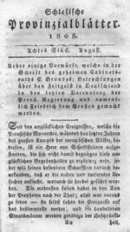 Schlesische Provinzialblätter, 1808, 48. Bd., 8. St.: August