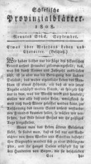 Schlesische Provinzialblätter, 1808, 48. Bd., 9. St.: September