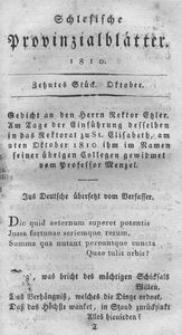 Schlesische Provinzialblätter, 1810, 52. Bd., 10. St.: October