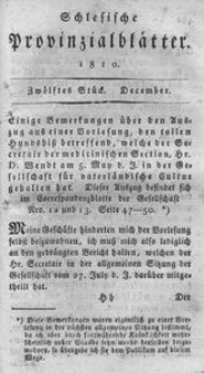 Schlesische Provinzialblätter, 1810, 52. Bd., 12. St.: December