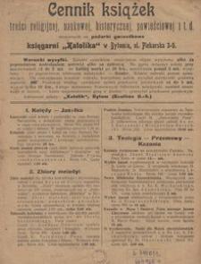 Cennik książek treści religijnej, naukowej, historycznej, powieściowej itd. stosownych na podarki gwiazdkowe