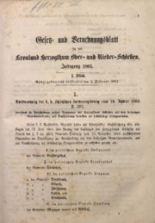 Gesetz- und Verordnungsblatt für das Kronland Herzogthum Ober- und Nieder-Schlesien, 1866, St. 1