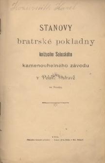 Stanovy bratrské pokladny knižecího Salmského kamenouhelného závodu v Polské Ostravě ve Slezsku, 1894
