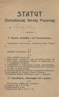 Statut Ochotniczej Straży Pożarnej w Lesznej Dolnej, [1921]