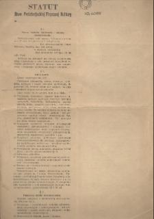 Statut Stow. Proletarjackiej Fizycznej Kultury w ..., [1926]
