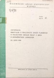 Informacja kwartalna o realizacji zadań planowych w rolnictwie według miast i gmin w województwie legnickim za 1978 rok
