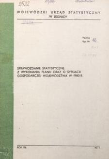 Sprawozdanie statystyczne z wykonania planu oraz o sytuacji gospodarczej województwa w 1980 r.