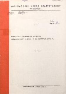 Kwartalna informacja rolnicza według miast i gmin w IV kwartale 1981 r.