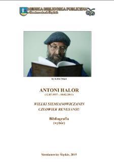 Antoni Halor. Człowiek renesansu. Bibliografia (wybór)