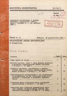 Informacja statystyczna z zakresu przemysłu, budownictwa, handlu, uslug i finansów w I-III kwartale 1980 r.