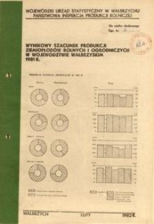 Wynikowy szacunek produkcji ziemiopłodów rolnych i ogrodniczych w województwie wałbrzyskim 1981 r.