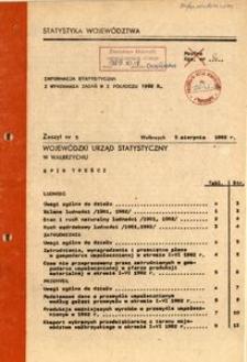 Informacja statystyczna z wykonania zadań w I półroczu 1982 r.