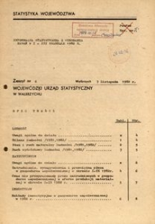 Informacja statystyczna z wykonania zadań w I-III kwartale 1982 r.