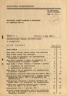 Realizacja zadań planowanych w rolnictwie w I kwartale 1984 r.