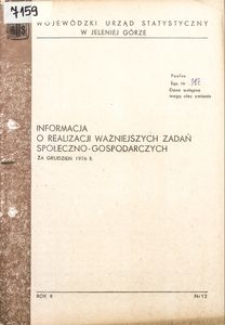 Informacja o realizacji ważniejszych zadań społeczno-gospodarczych za grudzień 1976 r.