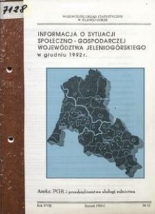Informacja o sytuacji społeczno-gospodarczej województwa jeleniogórskiego w grudniu 1992 r.