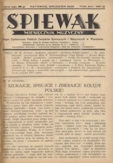 Śpiewak, 1935, R. 16, nr 12
