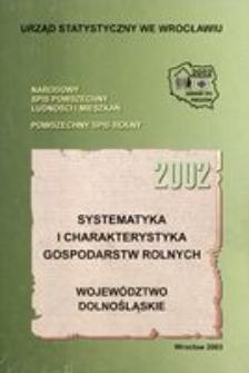 Systematyka i charakterystyka gospodarstw rolnych 2002. Województwo dolnośląskie